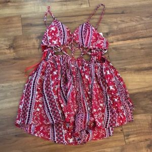 Printed red dress with shorts bottom